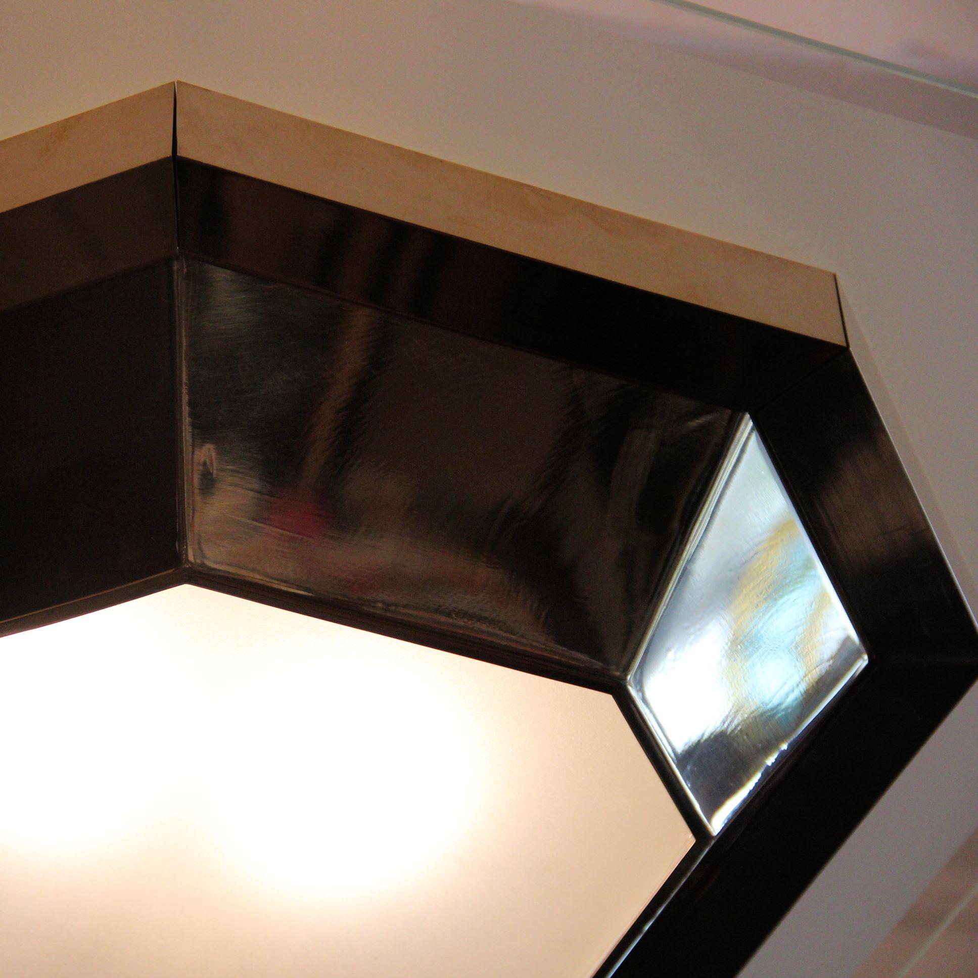 01166 Grosse Deckenleuchte Aus Messing Im Art Deco Stil