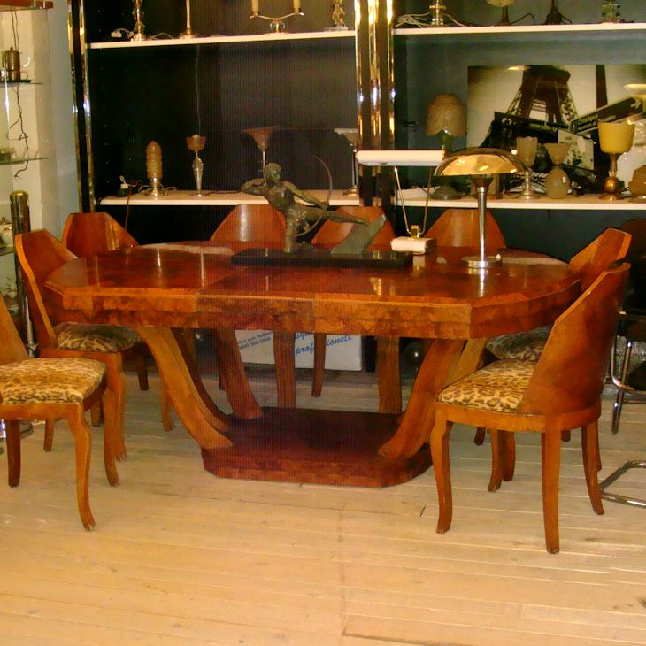01117 Art Deco Esstisch Mit 8 Stühlen Wandel Antik