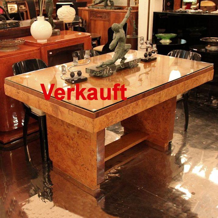 Wandel Antik 01609 Art Deco Esstisch Vogelaugenahorn Furnier